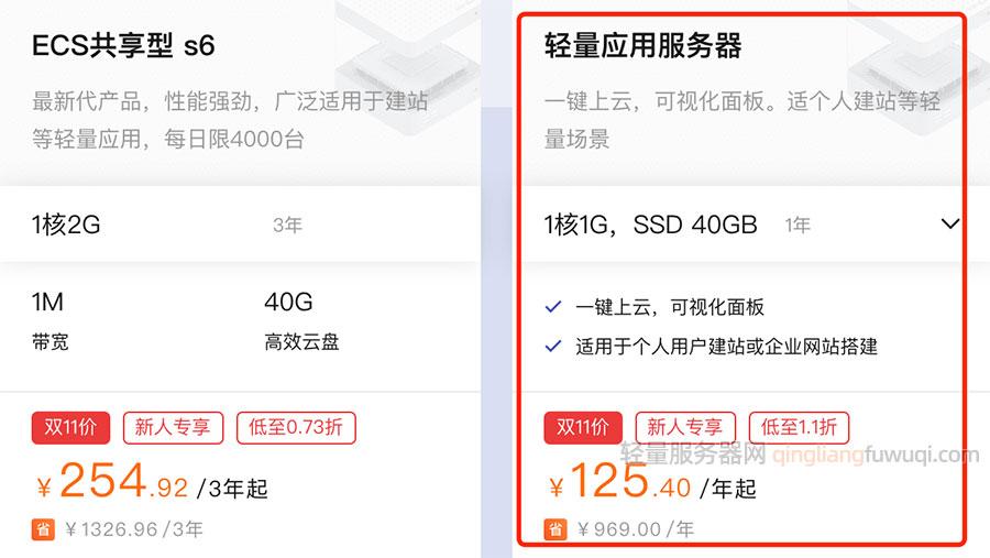 阿里云双十一轻量应用服务器拼团优惠价125.40元一年