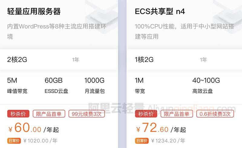 阿里云2核2G轻量服务器5M峰值带宽60元一年60GB ESSD云盘-阿里云轻量服务器